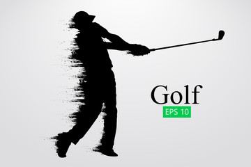 Silhouette of a golf player. Vector illustration