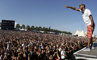 Singer Pharrell Williams of N.E.R.D. performs at the 35th Paleo music festival in Nyon
