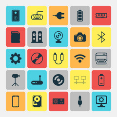 Computer Hardware Icons Set. Collection Of Audio Device, PC, Blank Cd And Other Elements. Also Includes Symbols Such As Photocamera, Connection, Setting.