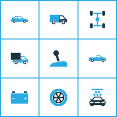 Auto Colorful Icons Set. Collection Of Pickup, Sports Automobile, Chassis And Other Elements. Also Includes Symbols Such As Crossover, Lever, Car.