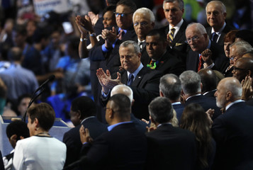 Retired USMC General  Allen is joined by veterans while addressing the Democratic National Convention in Philadelphia