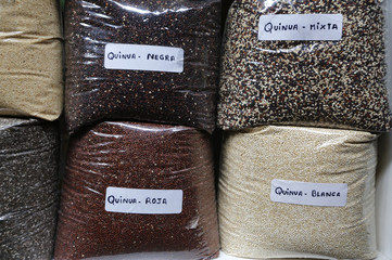 Different varieties of Quinoa are displayed at a market in Lima's Surquillo district