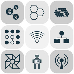 Artificial Intelligence Icons Set. Collection Of Cyborg, Laptop Ventilator, Information Components And Other Elements. Also Includes Symbols Such As Solution, Shared, Wireless.