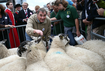 Former British racing driver Nigel Mansell, a Freeman of the City of London, poses for a photograph as he helps drive sheep over London Bridge in London
