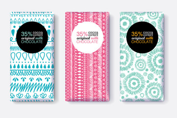 Vector Set Of Chocolate Bar Package Designs With Modern Vibrant Tribal Ikat Patterns. Circle frame. Editable Packaging Template Collection.