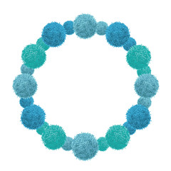 Vector Blue Baby Boy Birthday Party Pom Poms Circle Set and Round Frame. Great for handmade cards, invitations, wallpaper, packaging, nursery designs.