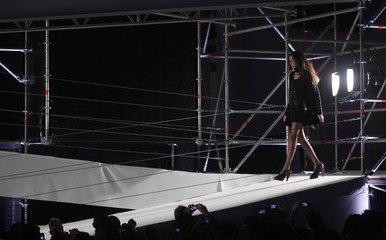 A model presents a creation from the Custo Barcelona collection at The Brandery Barcelona fashion show