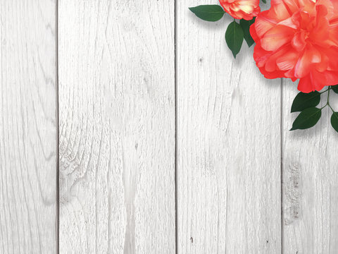 Red Flower Over Wood Background