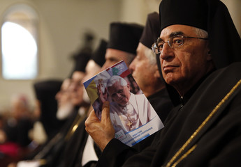 A Greek Melkiti Catholic Church member looks on before meeting with Pope Benedict XVI and Gregorios III Patriarch of the Church of Antiochthe near Beirut