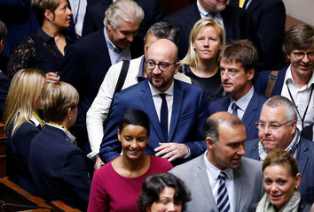 Belgium's PM Michel arrives for his state-of-the-union address at the Belgian Parliament in Brussels