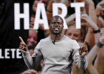 Actor and comedian Kevin Hart speaks during a Nike launch event in New York