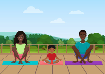 Vector illustration of the african american family meditating on the nature field background.