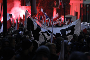 Far-right protesters gather in front of the building of Russian embassy during the annual far-right march, which coincides with Poland's national Independence Day in Warsaw