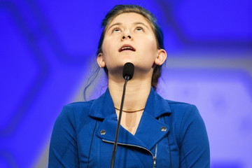 "Oona Flood of San Diego, California, struggles with the word ""xiphias "" during the third round of the 88th annual Scripps National Spelling Bee at National Harbor, Maryland"