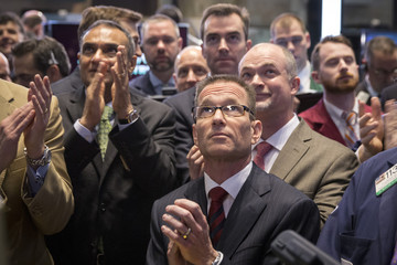 Wayne Goldberg, La Quinta's President and CEO watches as his hotel chain, La Quinta Holdings, began trading on the floor of the New York Stock Exchange