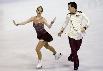 Switzerland's Ramona Elsener and Florian Roost perform during the ice dance short dance program at the European Figure Skating Championships in Zagreb