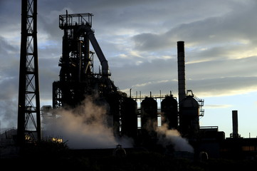 File photo of one of the blast furnaces of the Tata Steel plant seen at sunset in Port Talbot