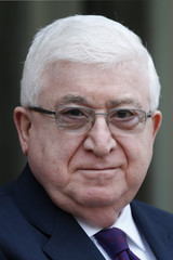 Iraq's President Fuad Masum arrives for a meeting at the Elysee Palace in Paris