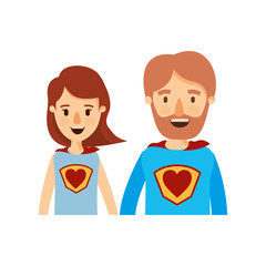 colorful caricature half body couple parents super hero with heart symbol in uniform vector illustration