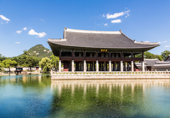 A pagoda in Gyeongbokgung palace, Seoul main royal palace in South Korea capital city
