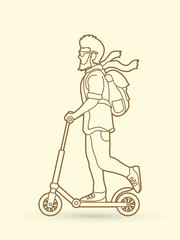 Hipster man riding kick scooter outline stroke graphic vector.