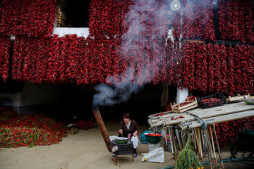 A woman cooks as bunches of paprika hang on the wall of her house to dry in the village of Donja Lakosnica