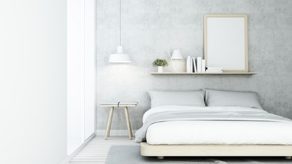 The Interior Loft style Bedroom space in condominium - 3D Rendering