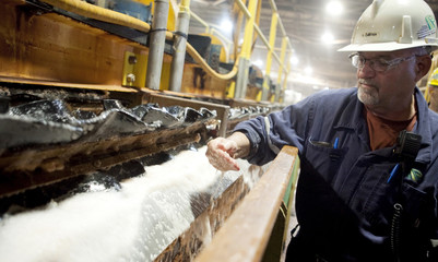 Rocanville Potash Corp mill production supervisor Carter samples some potash on it process of being refined at the mill in Saskatchewan