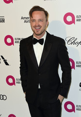 Aaron Paul arrives at the 2015 Elton John AIDS Foundation Oscar Party in West Hollywood