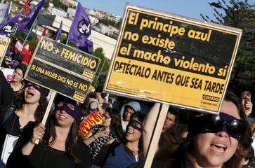Members of feminist organisations hold signs during a rally against gender violence on the International Day for the Elimination of Violence Against Women in Valparaiso