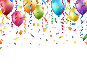 Colorful balloons, confetti and streamers on white background. Vector
