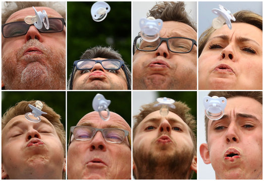 A combination of eight pictures shows participants of the pacifier spitting World Championship in Nidderau near Frankfurt
