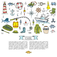 Hand drawn doodle Fishing icons set Vector illustration fishing equipment elements collection Cartoon fishing concept Fishing rod Baits Spinning Fishing lure Fish Fishing boat Lighthouse Fishing cloth