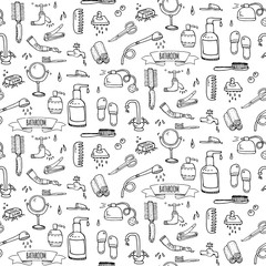 Seamless pattern hand drawn doodle Bathroom related icons set Vector illustration home bath symbols collection Cartoon elements Sketch Toilet Sink Shower Bathtub Lavatory Towel Robe Slippers Fan