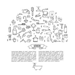 ПечатьHand drawn doodle Bathroom related icons set Vector illustration home bath symbols collection Cartoon elements on white background Sketch Toilet Sink Shower Bathtub Lavatory Towel Robe Slippers