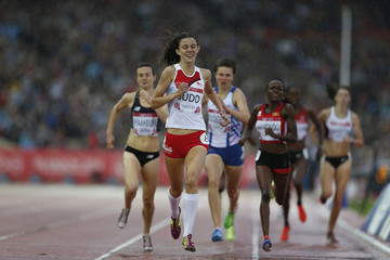 England's Jessica Judd crosses the line first in the women's 800m semi-final in the athletics competition at Hampden Park during the 2014 Commonwealth Games in Glasgow, Scotland