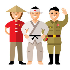 Vector Asians people. Flat style colorful Cartoon illustration