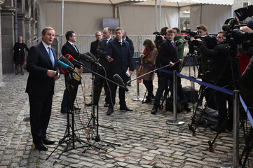 Irish Prime Minister Enda Kenny speaks to the media on arrival at the All-Island Civic Dialogue on Brexit in Dublin