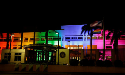 The U.S. Embassy building is illuminated in rainbow colours to commemorate International Gay Pride Day and also as a tribute to the victims of the Orlando nightclub shooting in San Jose, Costa Rica