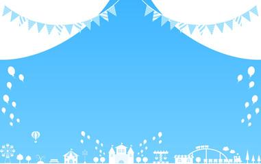 テーマパーク ブルー背景