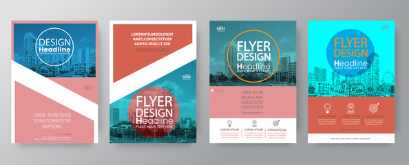 collection of poster flyer brochure cover layout design template  vector graphic elements and space for photo background in A4 size