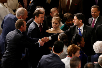 U.S. House Speaker Ryan greets fellow representatives prior to opening session of the new Congress on Capitol Hill in Washington