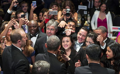 U.S. President Barack Obama greets supporters after delivering remarks at the Congressional Hispanic Caucus Institute's 38th Annual Awards Gala