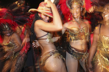 """Revellers from D'Krewe's """"Savaje"""" parade during Carnival in Port of Spain"""