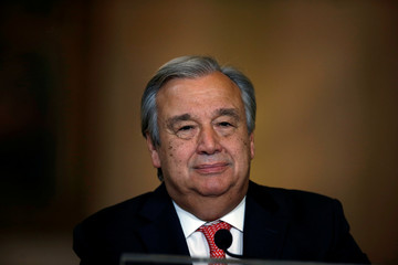 Nominated U.N. Secretary-General Antonio Guterres attends a news conference at Necessidades Palace in Lisbon