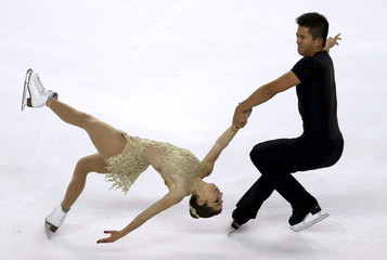 Castelli and Tran of the United States compete during the Pairs Short Program at the ISU Bompard Trophy Figure Skating competition in Bordeaux
