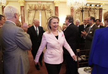 """U.S. Secretary of State Hillary Clinton arrives at a ?Conversation on Diplomacy"""" at the State Department in Washington"""
