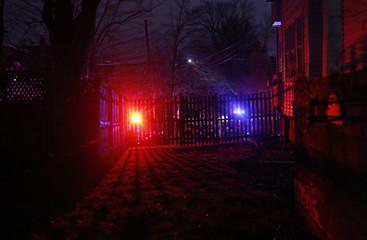 Police sirens are seen above Franklin Street in Watertown, Massachusetts