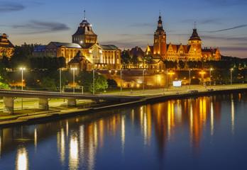 Night panorama of Old Town in Szczecin (Stettin) City