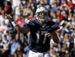 San Diego Chargers quarterback Philip Rivers passes against the Kansas City Chiefs during their NFL football game in San Diego